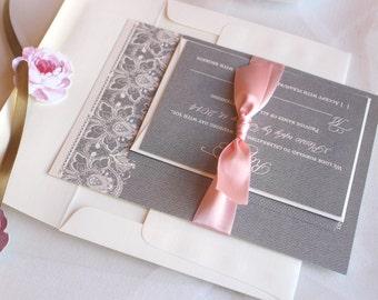 Gray Wedding Invitation / Blush Invite / Vintage /  Lace Wedding Invitations - Blush Taylor Invitation with Ribbon Sample