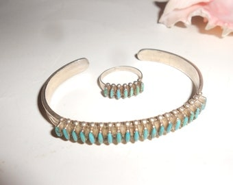 Kingman Turquoise Set Needle Point Sterling Silver Fred Harvey Era Zuni Cuff Bracelet & Ring Hand Crafted Old Pawn Jewelry Vintage