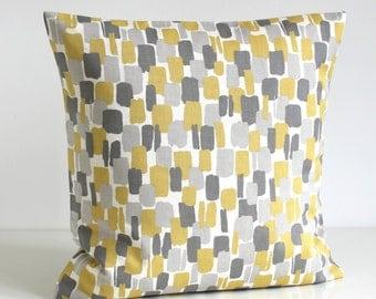Scandinavian Pillow Cover, Yellow and Gray Pillow Sham, Yellow and Grey Cushion Cover, Pillowcase - Scandi Blocks Mustard