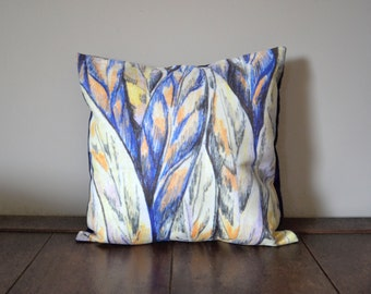 Printed Leaves Pillow - Indigo and Gold Decorative Pillow Cover - Textile Print Pillow - Faux Suede Pillow