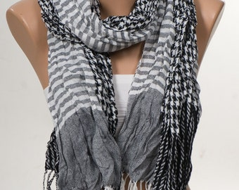 BLACK and WHITE and Gray Stripped Scarf. Unisex Fashion Scarf. Valentine's Scarf. Men scarf. Men gift. Men accessories.