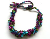 Pink & Aqua Ladder Yarn Necklace - Crocheted Ribbon Necklace, Fiber Jewelry, Vegan Jewelry, Handmade in the USA, Ready to Ship