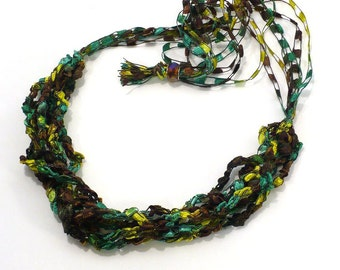 Green & Brown Ladder Yarn Necklace: Green Ribbon Necklace, Crochet Choker, Lariat Necklace, Vegan Necklace, Fiber Jewelry, Ready to Ship