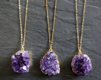 Amethyst Necklace / Amethyst Jewelry / Druzy Necklace / February Birthstone / Raw Crystal Necklace / Mother's Day Gift / Gold Amethyst Druzy