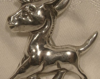 Mexican Sterling Silver Vintage Donkey or Burro Brooch 1930s