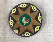 Eight Pointed Star & Rabbit Miniature Art - Pocket Charm - OOAK
