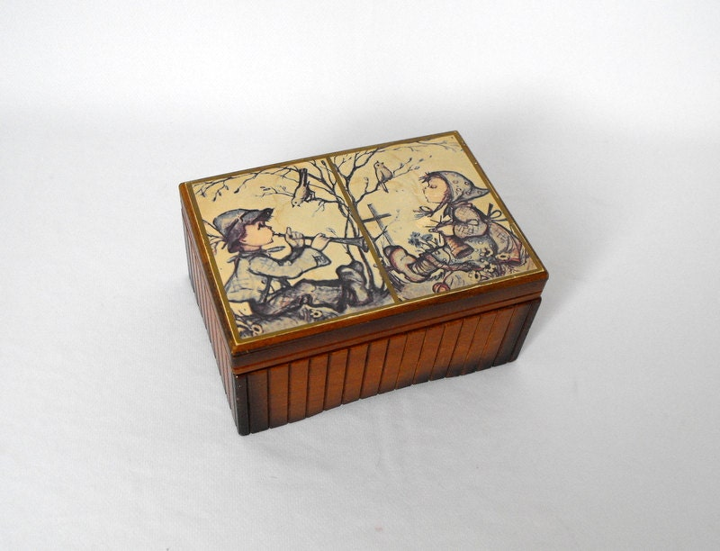 Vintage Music Box Wooden Box With Two Hummel Prints Sunrise