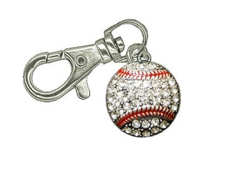 Baseball Zipper Pull - Baseball Gift - Zipper Pull - Jacket Zipper Pull - Zipper Charm  - Gym Bag Zipper Pull - Baseball Keychain