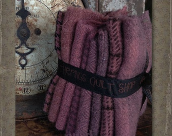 Hand Dyed 100 percent Wool Bundle Color: Rose - Primitive Gatherings