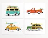"Surf Trip Wall Art Print Set - 4 Prints - vintage cars' illustrations with surf boards - VW Van, Beetle, Truck  - Unframed 7""x5"" or 10""x8"""