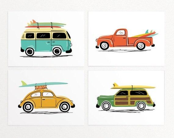 Surf Trip Wall Art Print Set 4 Prints vintage cars'