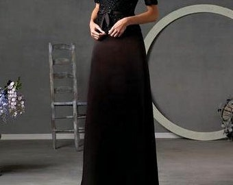 Black evening dress, Beaded Silk Satin Mother of bride dress, robe Mere de la Mariee, Robe de Soirée- M/L