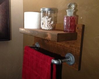 Bathroom Wall Shelf w Towel Holder, Storage Shelf, Modern Rustic Industrial