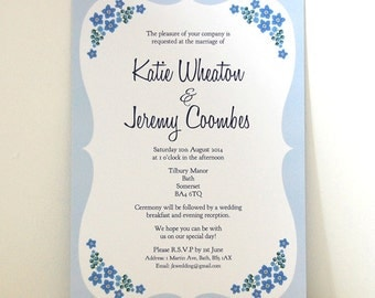 SAMPLE - Forget Me Not Vintage Style Kitsch Wedding Invitation, Save The Date, RSVP Stationery Suite / Set Samples