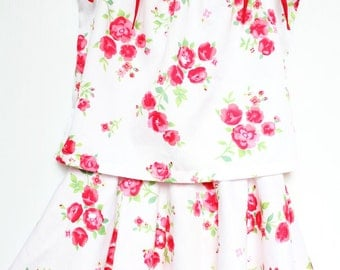 Girls circle skirt / twirly skirt & camisole, two-piece set, Australian made, kids circle skirt,  red  ribbon white + pink flower print