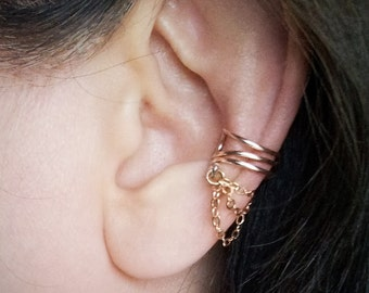 Rose Gold Chain Ear Cuff  Rose Gold plated Chain Ear Wrap