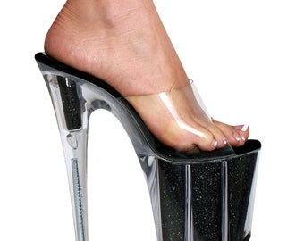 VIP 8 inch Clear Mule Black Glitter Filled Sandal High Heel Platform Woman Stripper Shoes