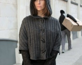 Hooded Knit Capelet, wool cape, hooded cape, knitted cape