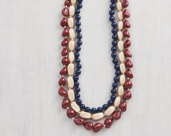 3 Vintage Glass Bead Necklaces - maroon, peach, navy long beaded necklace lot - wear or recycle the beads