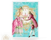 Marie Antoinette card, Valentine card, romantic couple, macaron, mint green, pink, blue, Paris, baroque style, wedding card, engagement card