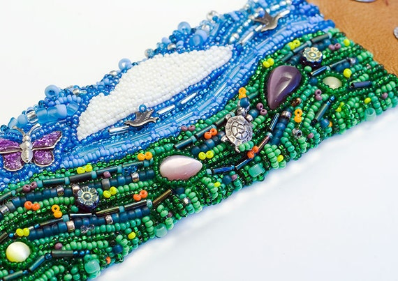 A Walk in the Garden Cuff // Bead Embroidered // Leather // Seed Beads // Beadwork // Beaded Bracelet // Wearable Art