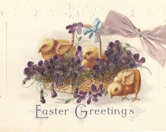 Easter Greetings - Embossed Postcard - Brilliant Accents with Ribbon - JP 1917