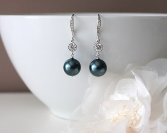 Tahitian Pearl Earrings Something Blue Wedding Earrings Bridesmaid Gift Earrings Swarovski Pearl Drop Earrings Bridesmaid Jewelry