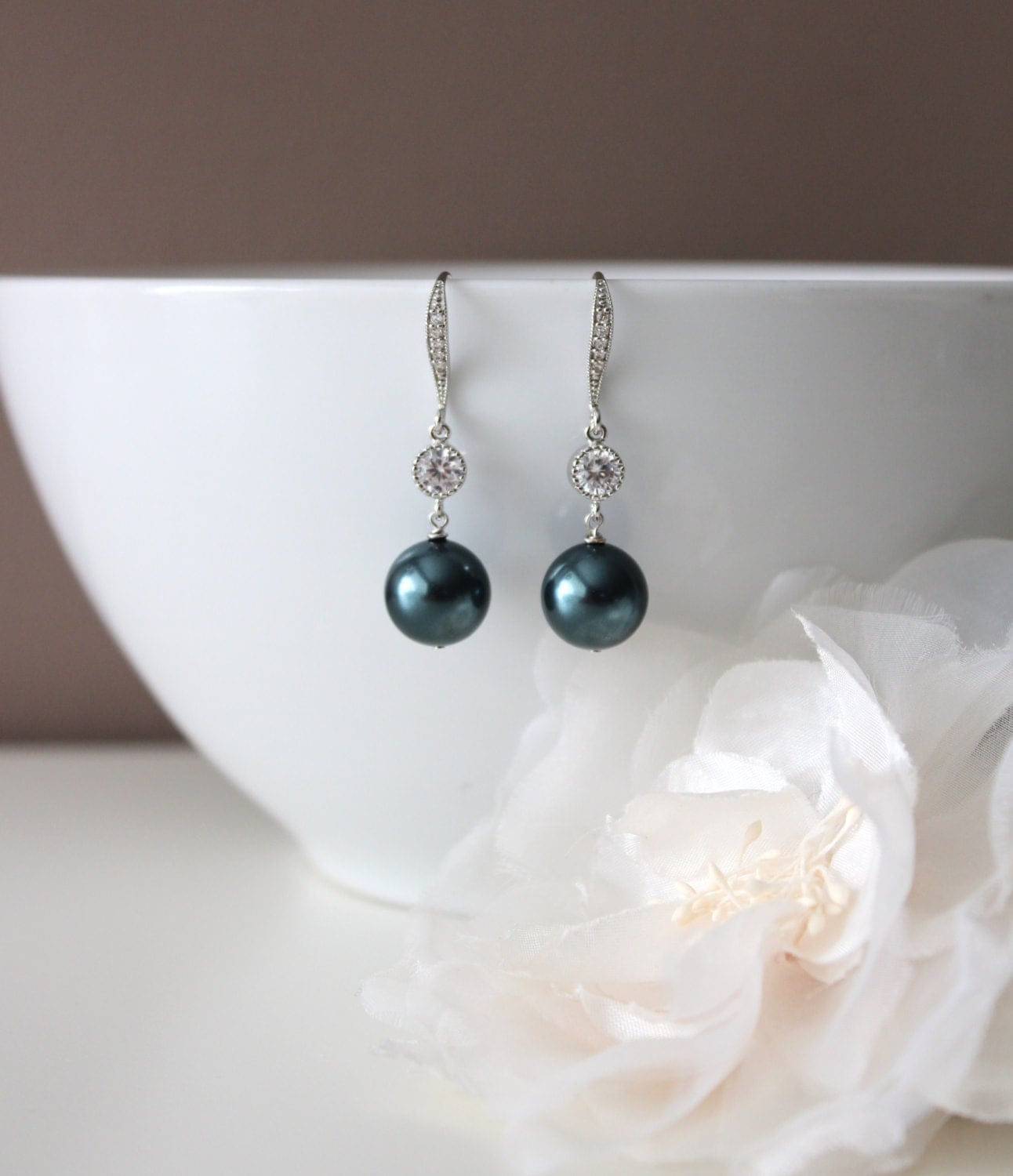 Tahitian Pearl Earrings Something Blue Wedding Earrings ...