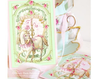 Carousel, horse, invitations, mint green, pink roses, French, Paris, white horse, tea party invitation, shower tea, birthday invitation