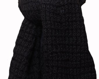 Hand Knit Scarf - Black Deer Valley Alpaca Fence Rib