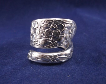 FREE SHIPPING Spoon Ring-1935 Narcissus-Vintage-Spoon Jewelry-Size 7