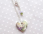 20% OFF! Heart Necklace. White Cabbage Rose Bouquet. Purple Flowers. Ceramic. Violet. Lavender. Green. Cottage Chic. Clay. Sterling Chain