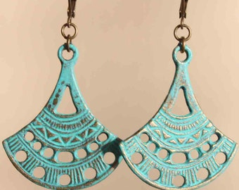 Turquoise Earrings Dangle jewelry Patina Bohemian Earrings Tribal Ethnic earrings Drop Earrings Gift for her Gift Ideas For her