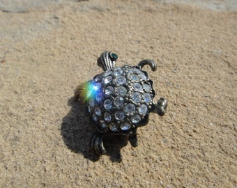 Beautiful Vintage Rhinestone Turtle Pin Pendant Brooch Gift