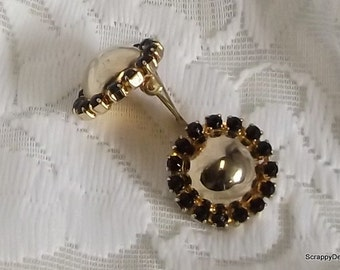 Earrings Gold Dome center with Black rhinestone clip ons