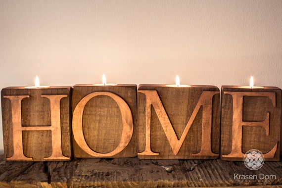 Items Similar To Wooden Letters Home Wooden Sign Candlestick Candle Holder For The Home Decor