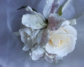 Free Delivery! Pretty Flower Girls Wedding Wand in Ivory Satin Roses with Alstromeria and Pearls, Finished with Ivory Satin Ribbon