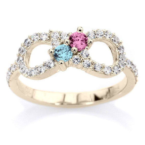 10k Personalized Couples Infinity Ring Solid White Yellow Or Rose Gold  w/ His and Hers Birthstones & Side Accents