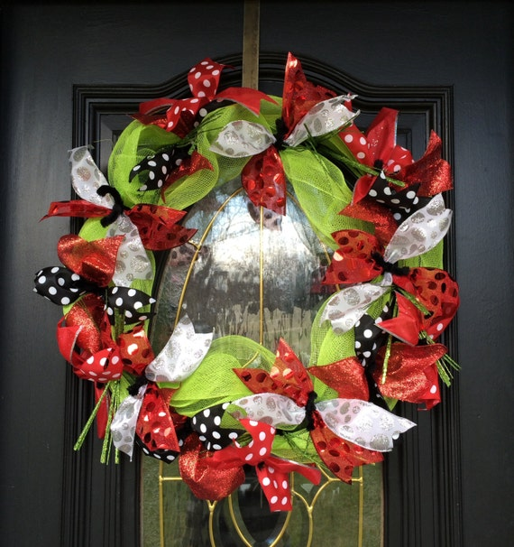 items similar to ribbon deco mesh wreath silver white black green 24 quot ribbon