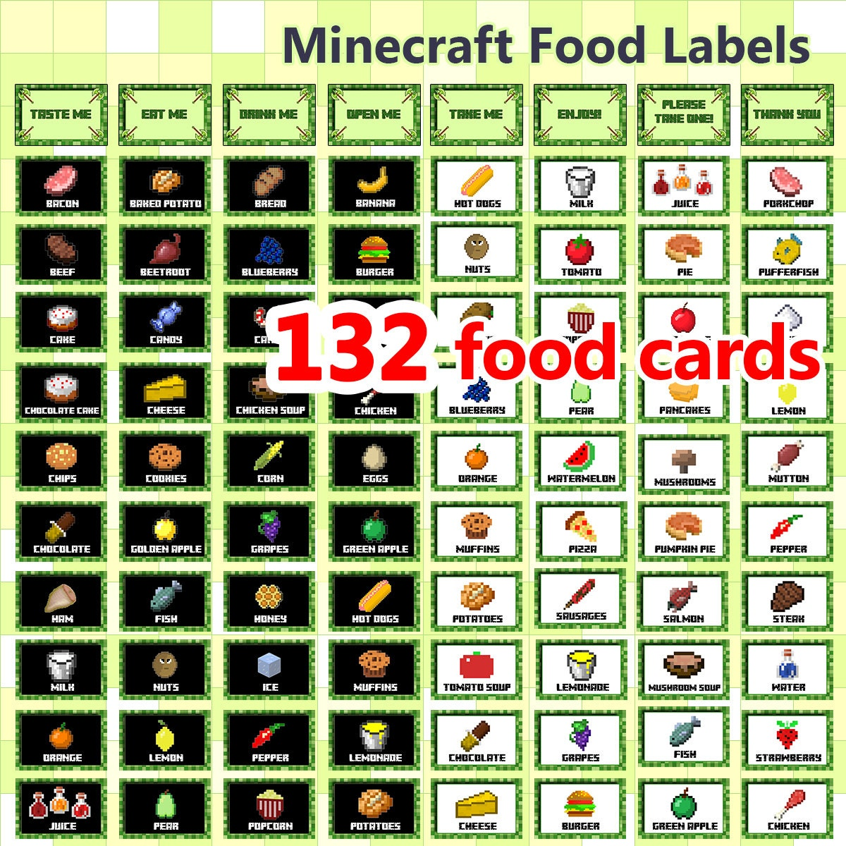 132 Minecraft Food Cards Food Labels Minecraft Buffet by ...