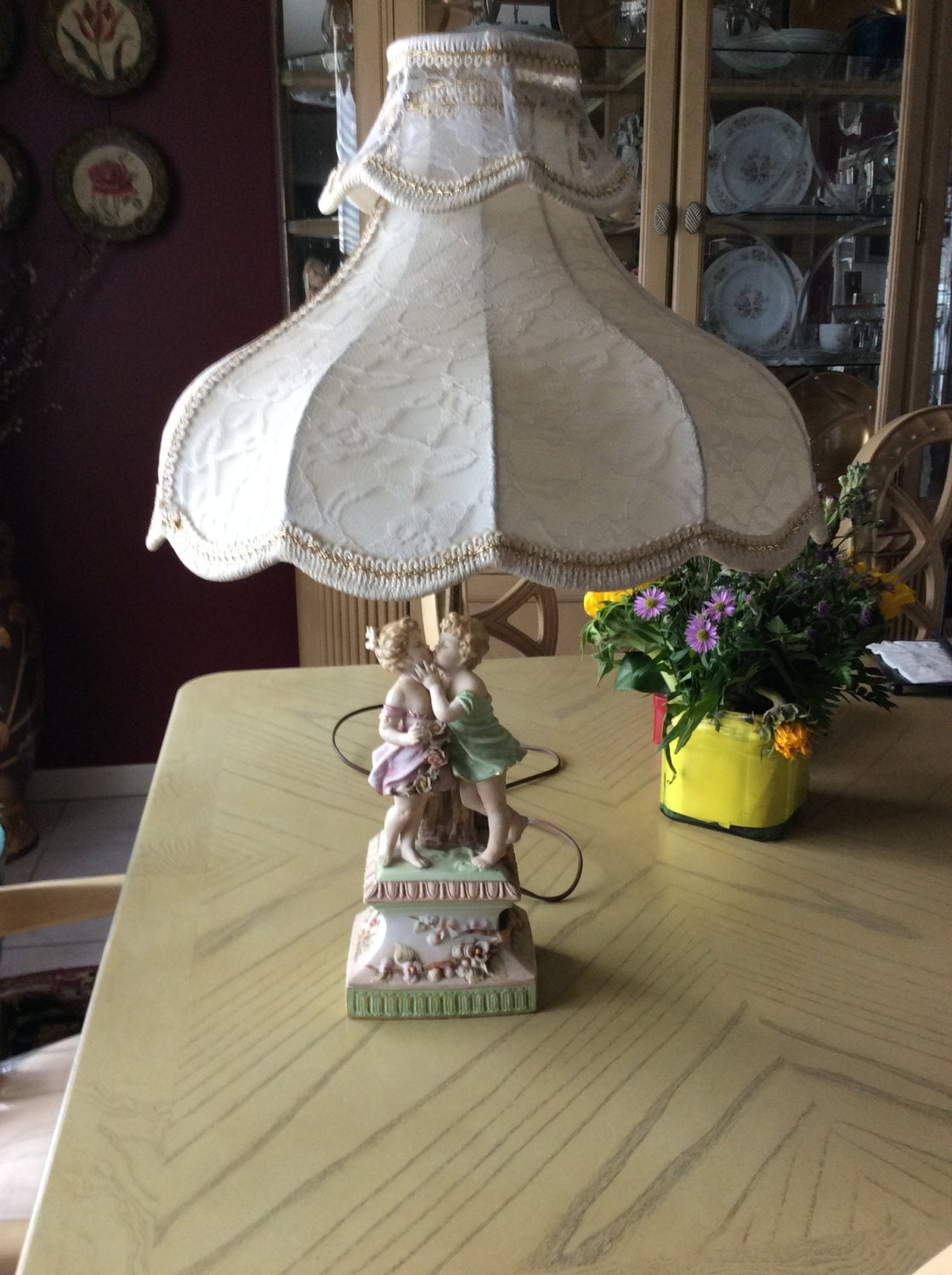 Vintage Victorian Capodimonte Italy Table Lamp Amp Shade