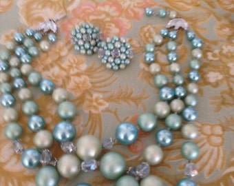 Beautiful Vintage 3 stand Soft Teal, Mint Green, matching earrings