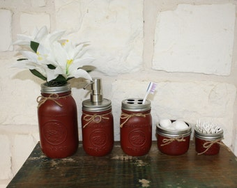 Hand Painted Mason Jar Set - Maroon