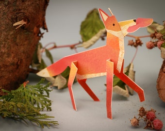Charming Fox, 3D Paper Animal Greeting Card/Sculpture