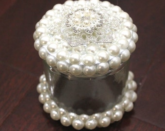 Wedding Favor Pearled Brooch Glass Jar Container With Tags