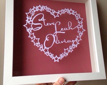 Stars and Hearts - Personalised Papercut