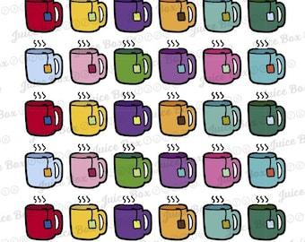Set of 48 Cuppa Tea Stickers in Erin Condren Monthly Colors