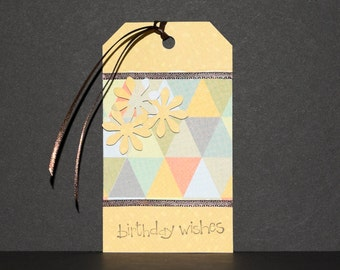 Birthday Gift Tag -- Golden Triangles
