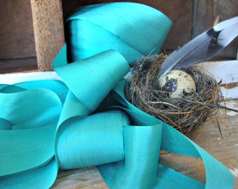 Teal-Robins Egg Blue Silk Ribbon
