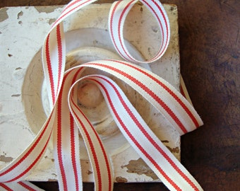 Organic Cotton Natural and Red Ticking Stripe Ribbon